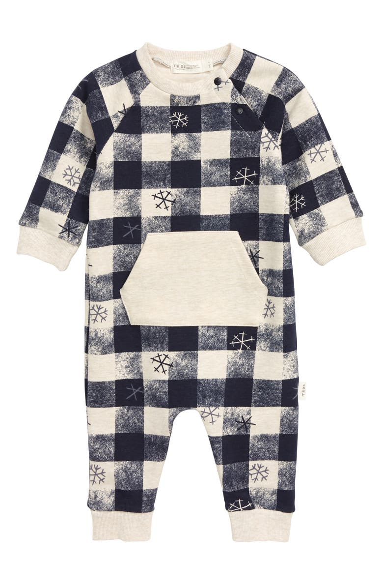 MILES baby Snowflake Check Romper, Main, color, 280
