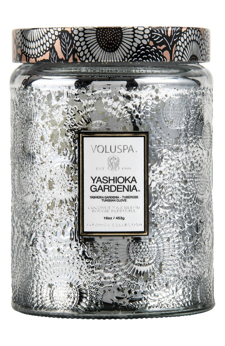 VOLUSPA Japonica Yashioka Gardenia Large Embossed Glass Jar Candle, Main, color, 960