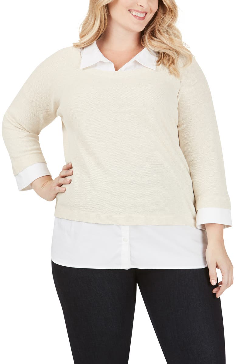 FOXCROFT Miles Layered Shirt & Sweater Pullover, Main, color, STRAW HAT