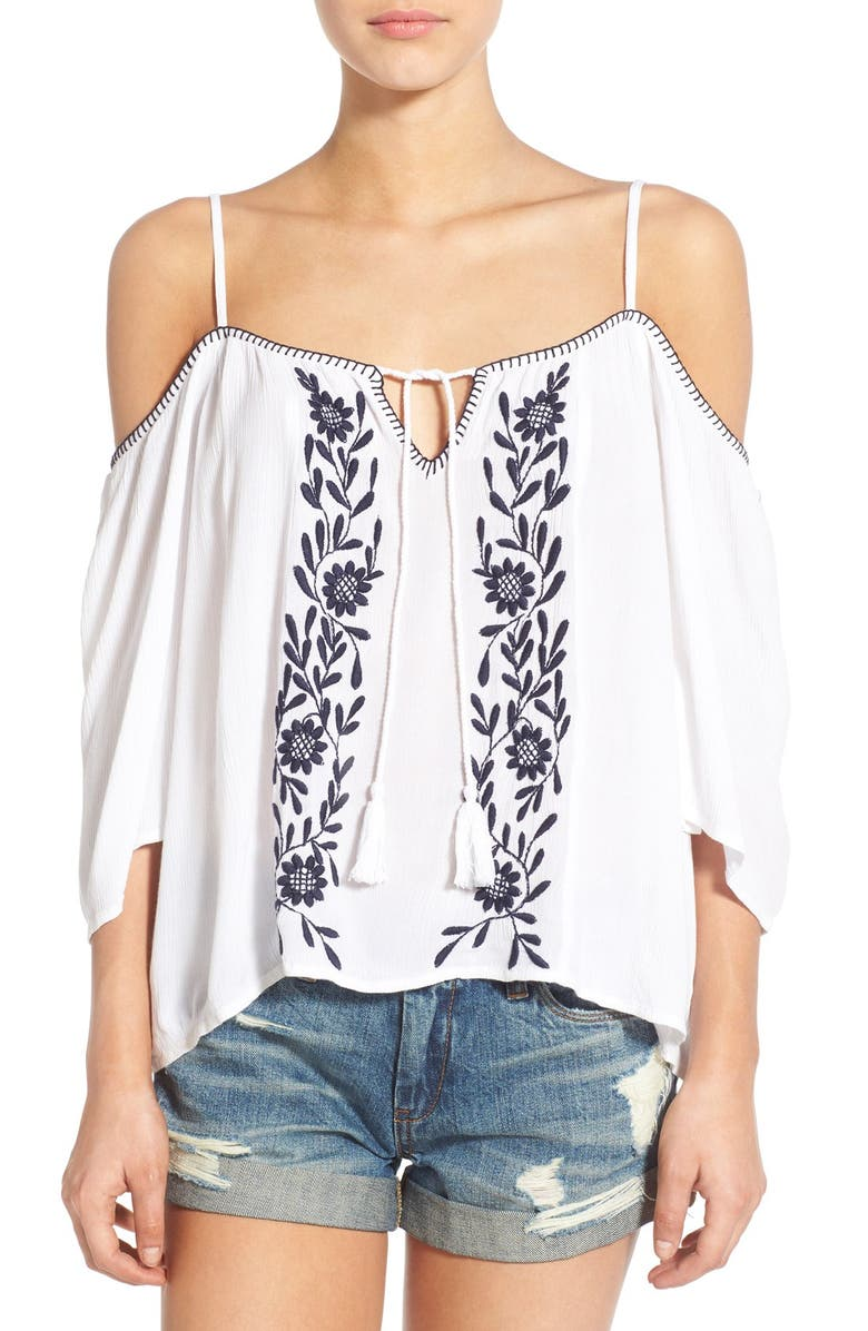 BAND OF GYPSIES Embroidered Cold Shoulder Top, Main, color, 100