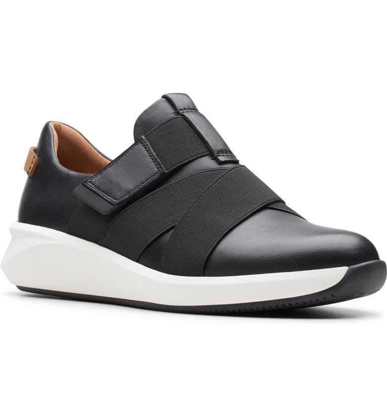 CLARKS<SUP>®</SUP> Un Rio Strap Wedge Sneaker, Main, color, BLACK LEATHER