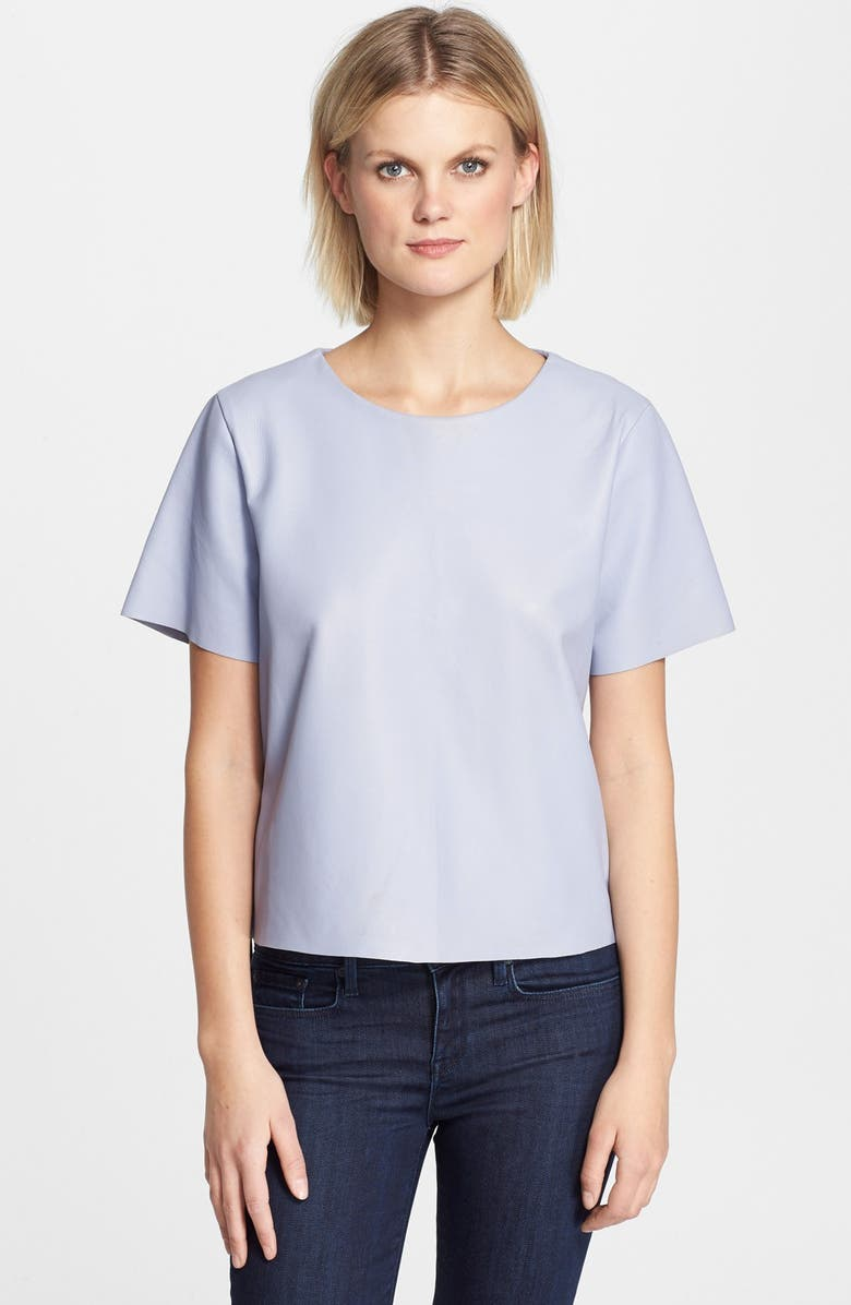 VEDA 'Frame' Leather Tee, Main, color, PERIWINKLE