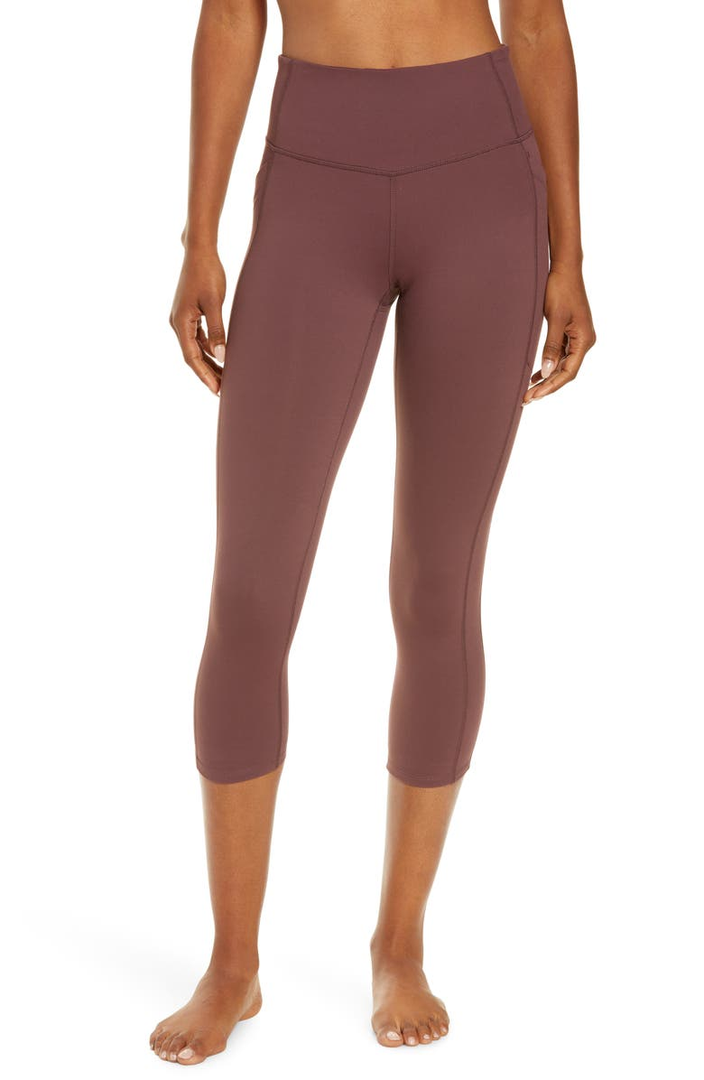 ZELLA Live In High Waist Pocket Crop Leggings, Main, color, BURGUNDY HUCKLE