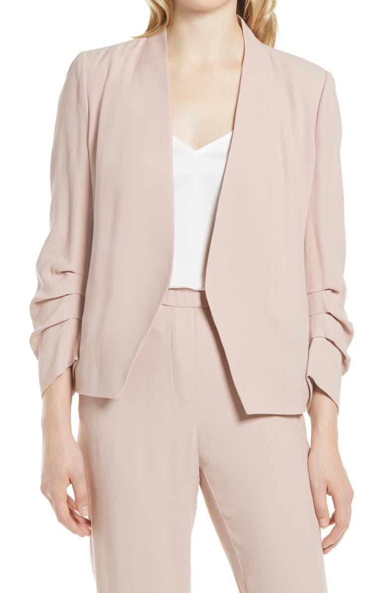 HALOGEN<SUP>®</SUP> Open Ruched Sleeve Crepe Blazer, Main, color, PINK ADOBE