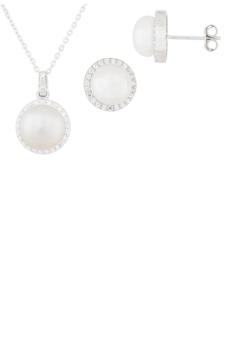 SPLENDID PEARLS CZ 7-9mm Cultured Freshwater Halo Pearl Set, Main, color, NATURAL WHITE