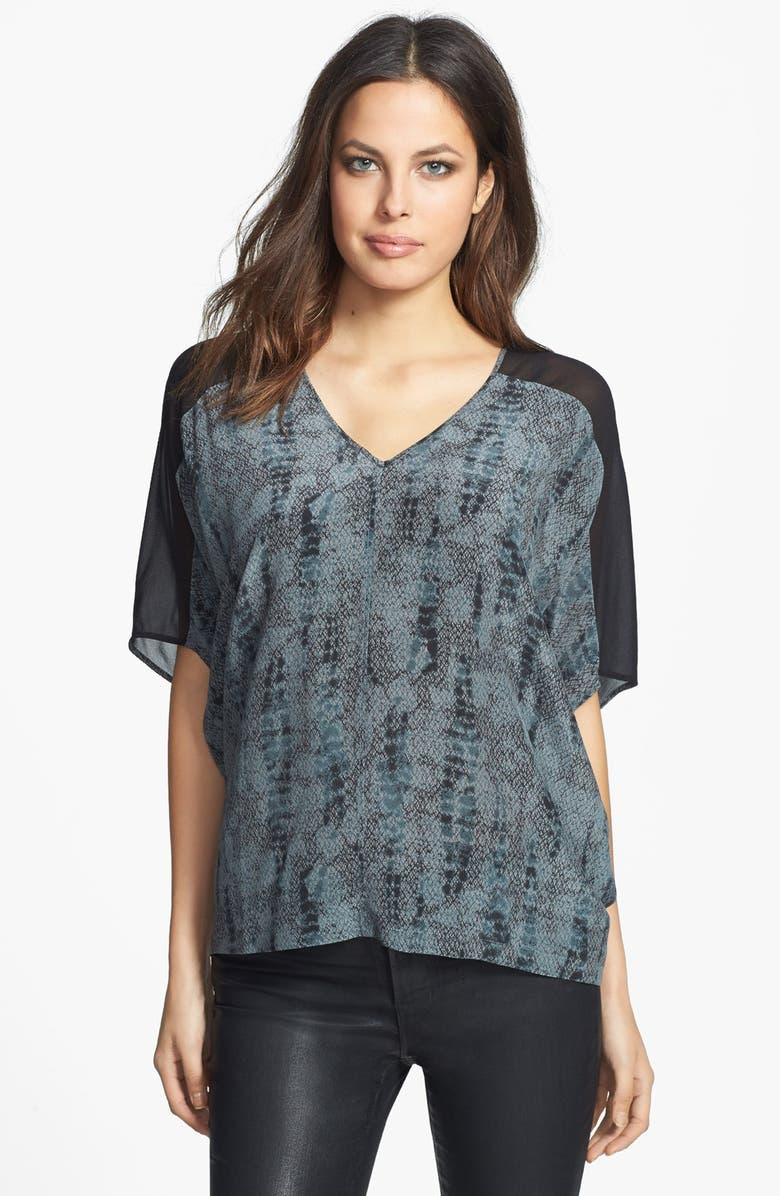 EILEEN FISHER V-Neck Slouchy Silk Top, Main, color, 021