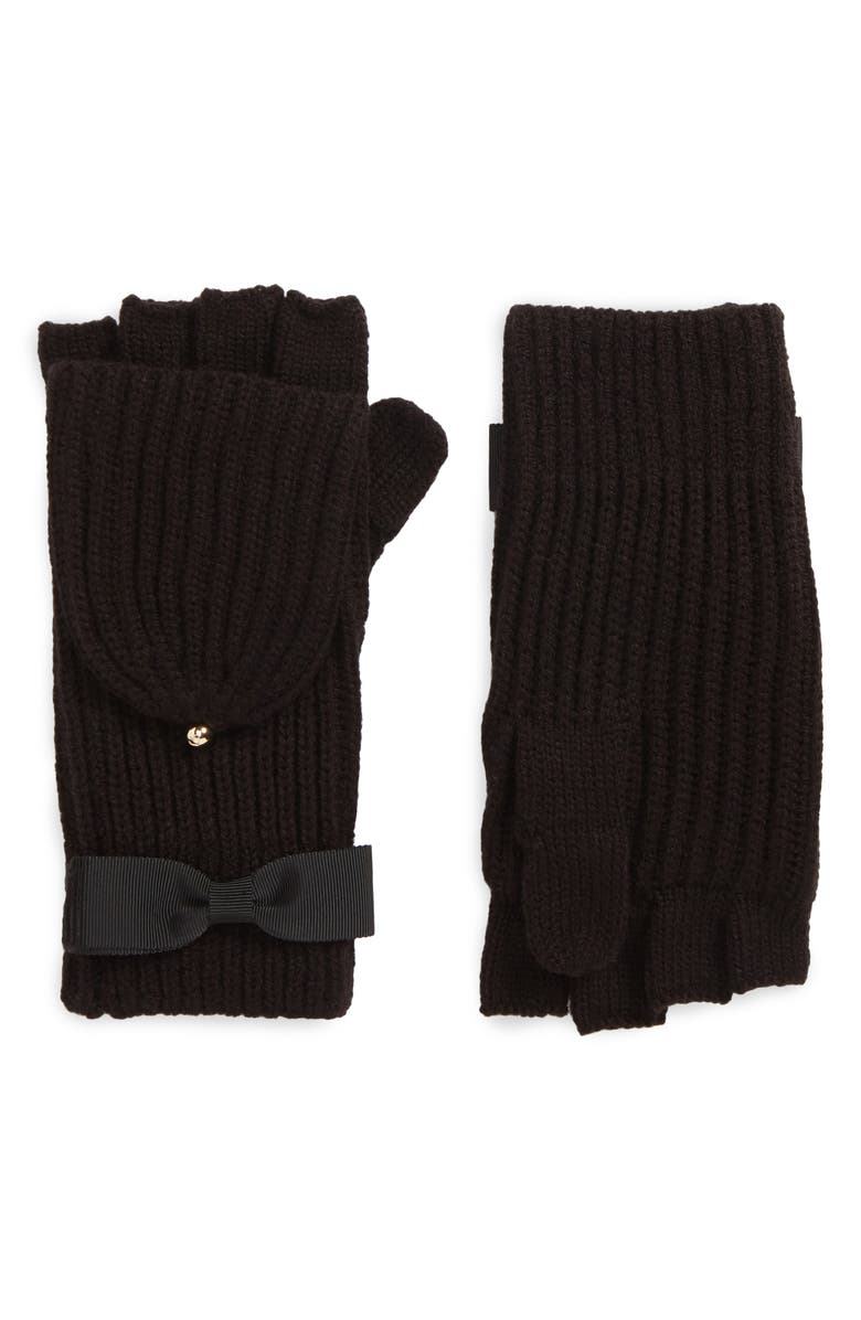 KATE SPADE NEW YORK grosgrain bow convertible knit mittens, Main, color, 001