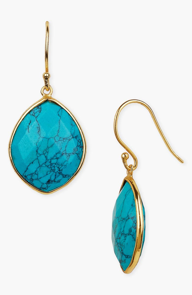 ARGENTO VIVO STERLING SILVER Argento Vivo Stone Drop Earrings, Main, color, GOLD/ TURQUOISE