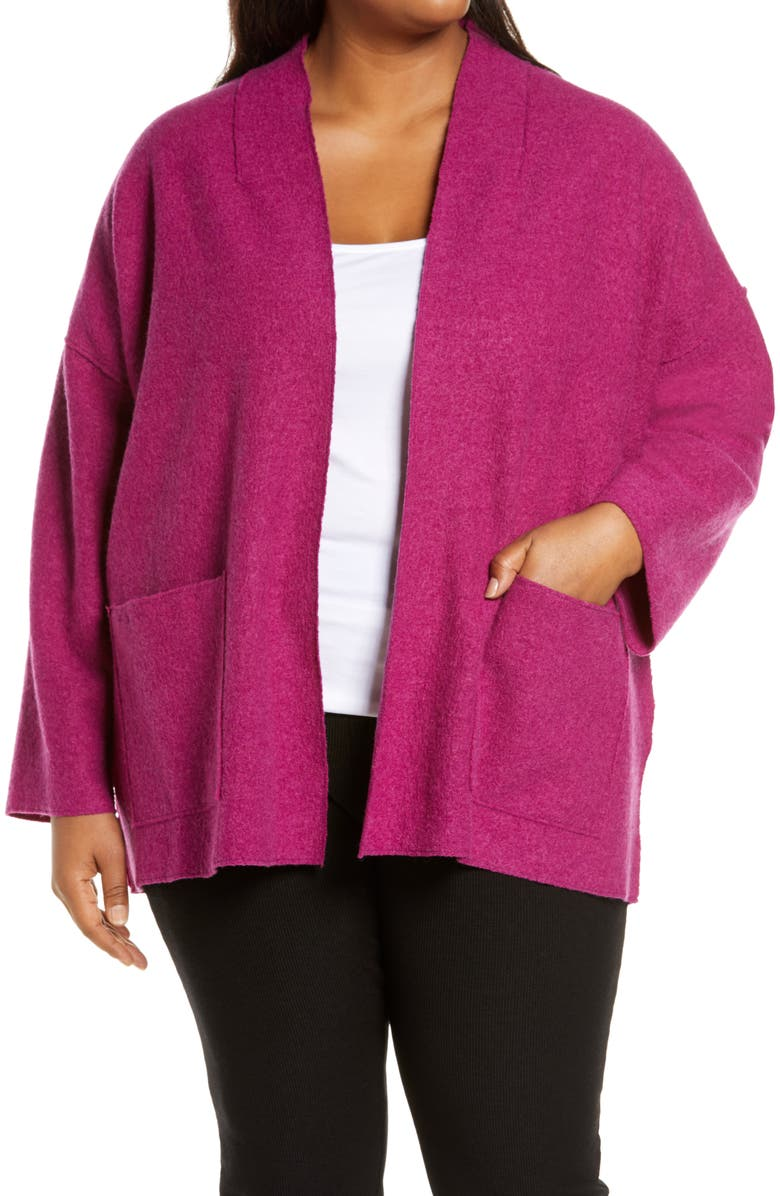EILEEN FISHER High Collar Wool Jacket, Main, color, CERISE