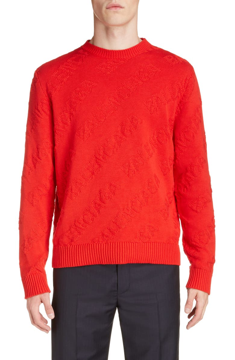 BALENCIAGA Logo Crewneck Sweater, Main, color, RED
