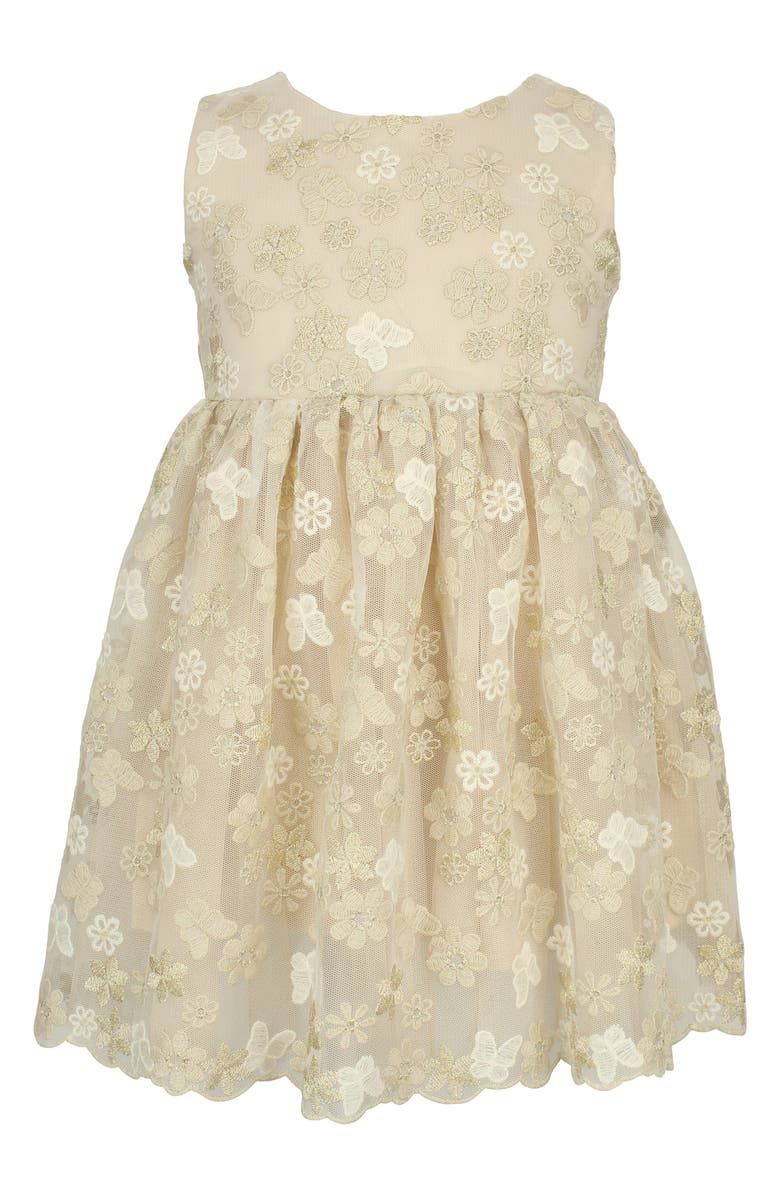 POPATU Floral Butterfly Embroidered Tulle Dress, Main, color, IVORY
