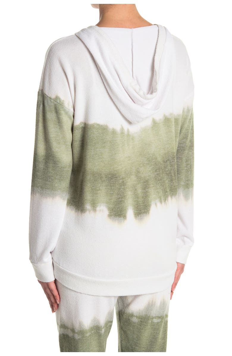 THEO AND SPENCE Tie-Dye V-Neck Drawstring Hoodie, Main, color, FOREST