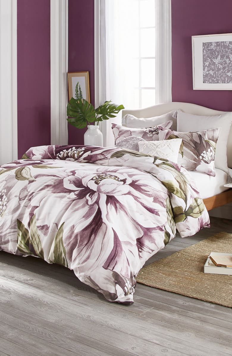 PERI HOME Peony Blooms Comforter & Sham Set, Main, color, PURPLE