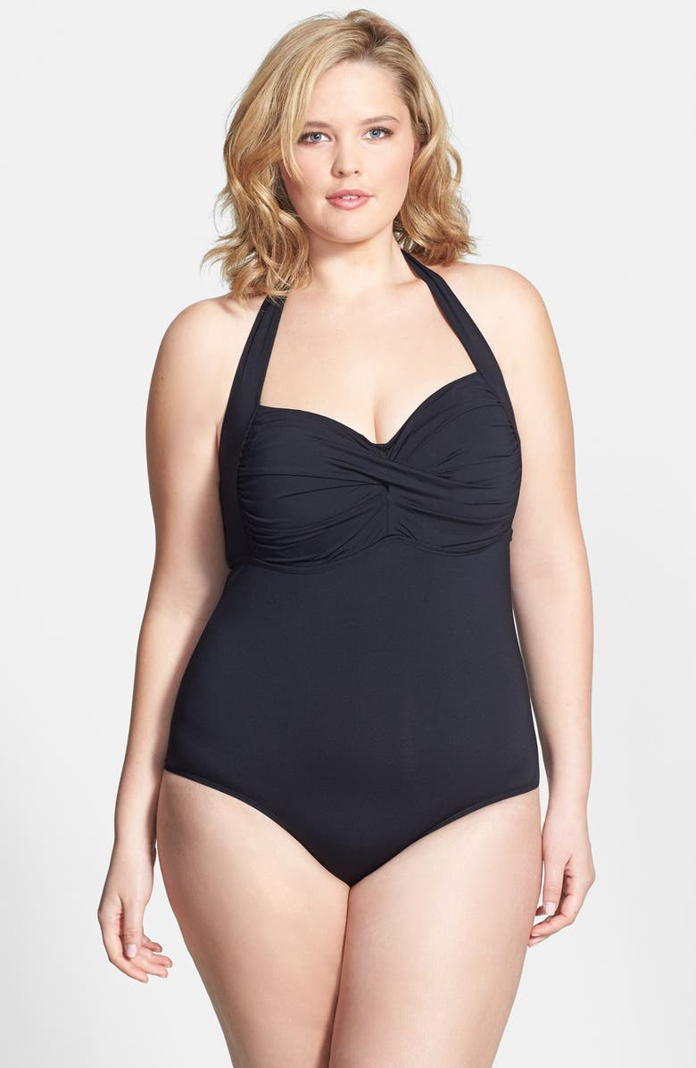 COLE OF CALIFORNIA Twist Front Halter One-Piece Swimsuit, Main, color, Black