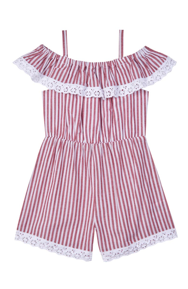 PASTOURELLE BY PIPPA AND JULIE Ruffled Lace Striped Romper, Main, color, RED/WHITE