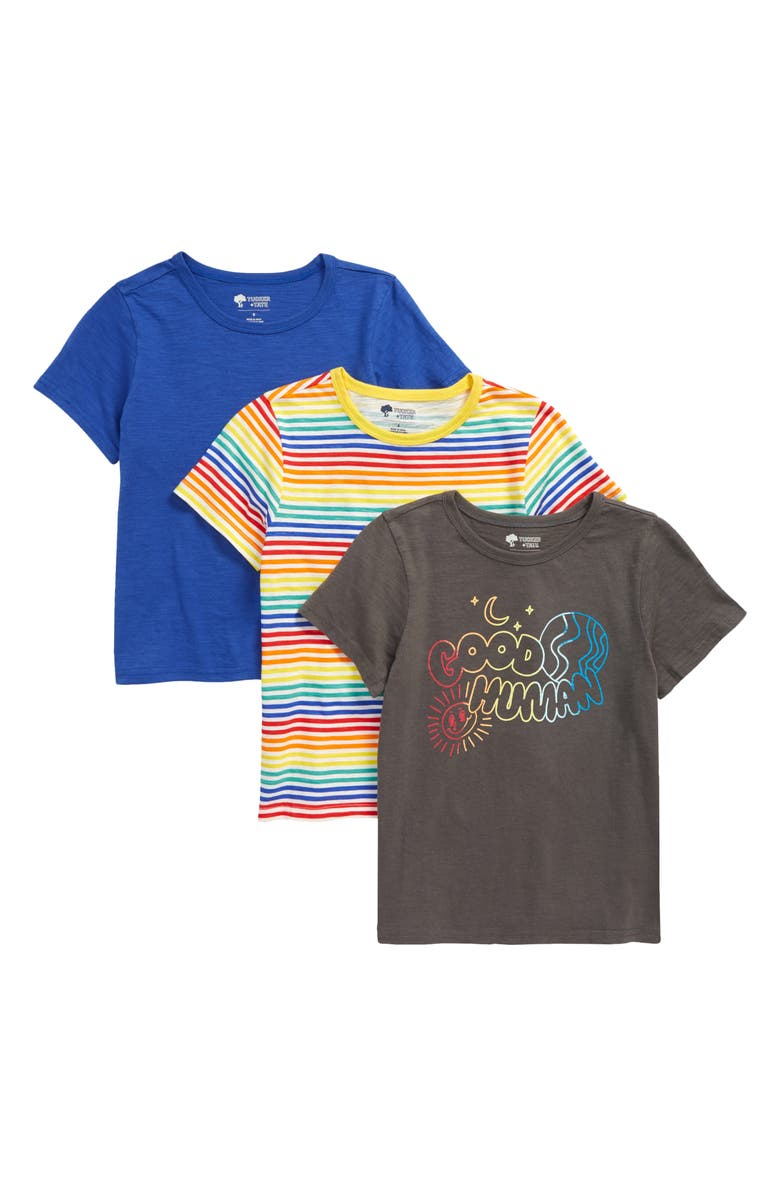 TUCKER + TATE Kids' Assorted 3-Pack Good Human Graphic Tees, Main, color, GOOD HUMAN PACK