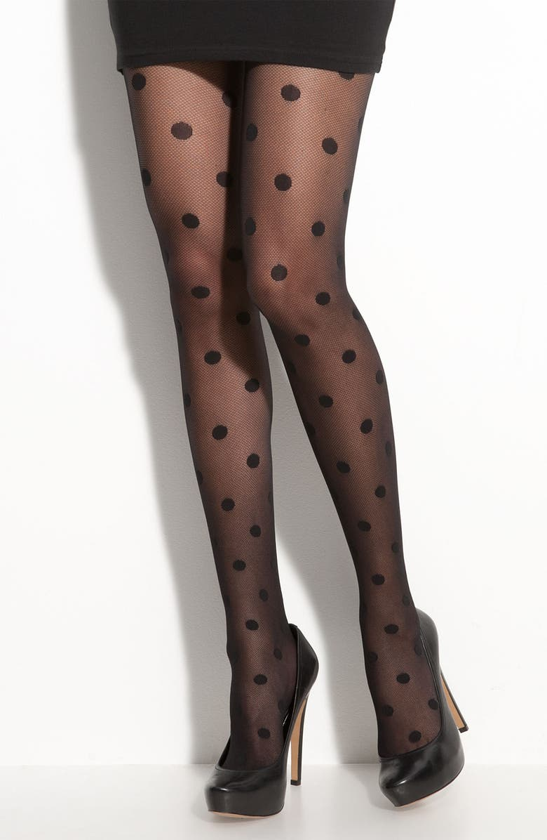 KATE SPADE NEW YORK 'enormous swiss dot' tights, Main, color, BLACK
