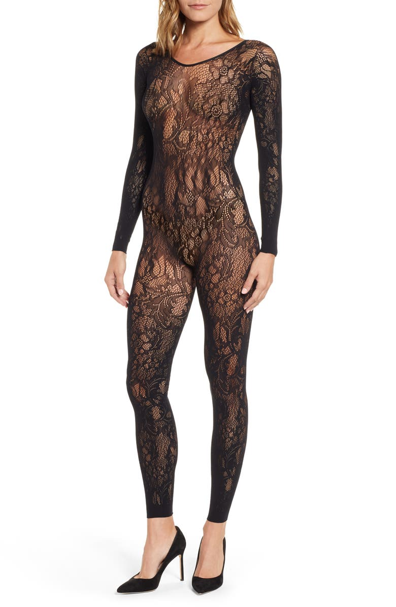 NATORI Floral Romance Lace Catsuit, Main, color, BLACK