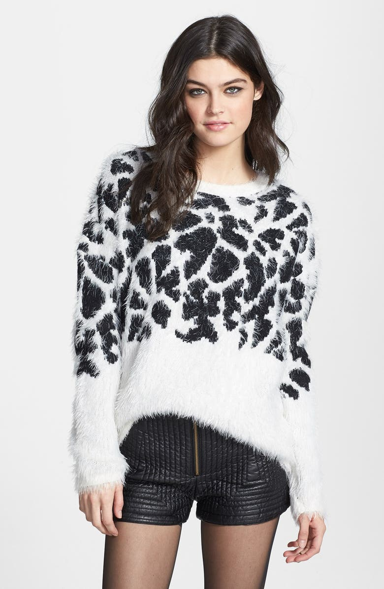NORTHEAST BY SOUTHWEST Animal Pattern Textured Sweater, Main, color, ALMOND