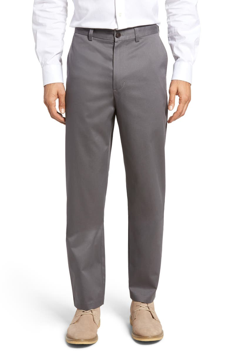 NORDSTROM MEN'S SHOP Nordstrom Classic Smartcare<sup>™</sup> Relaxed Fit Flat Front Cotton Pants, Main, color, GREY TORNADO
