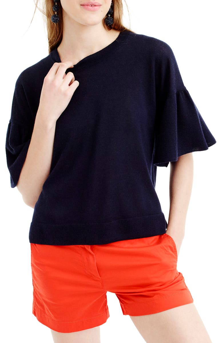 J.CREW Featherweight Cashmere Ruffle Sleeve Sweater, Main, color, NAVY