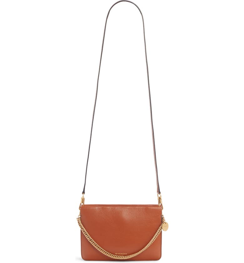 GIVENCHY Cross 3 Leather Crossbody Bag, Main, color, CHESTNUT