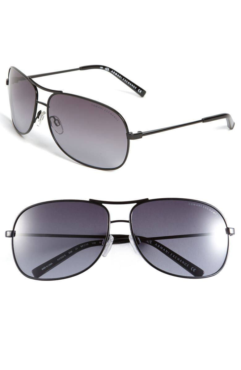 AX ARMANI EXCHANGE Metal Aviator Sunglasses, Main, color, 002