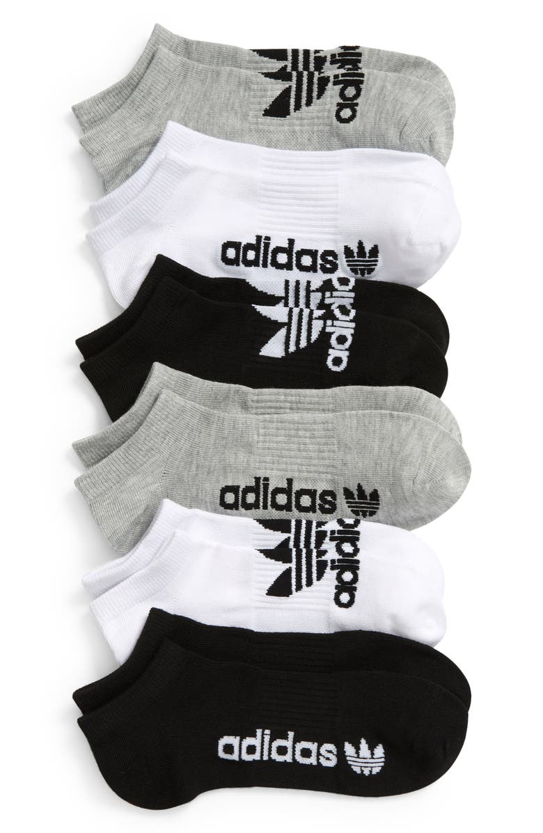 ADIDAS Originals Assorted 6-Pack No-Show Socks, Main, color, HEATHER GREY/ BLACK/ WHITE