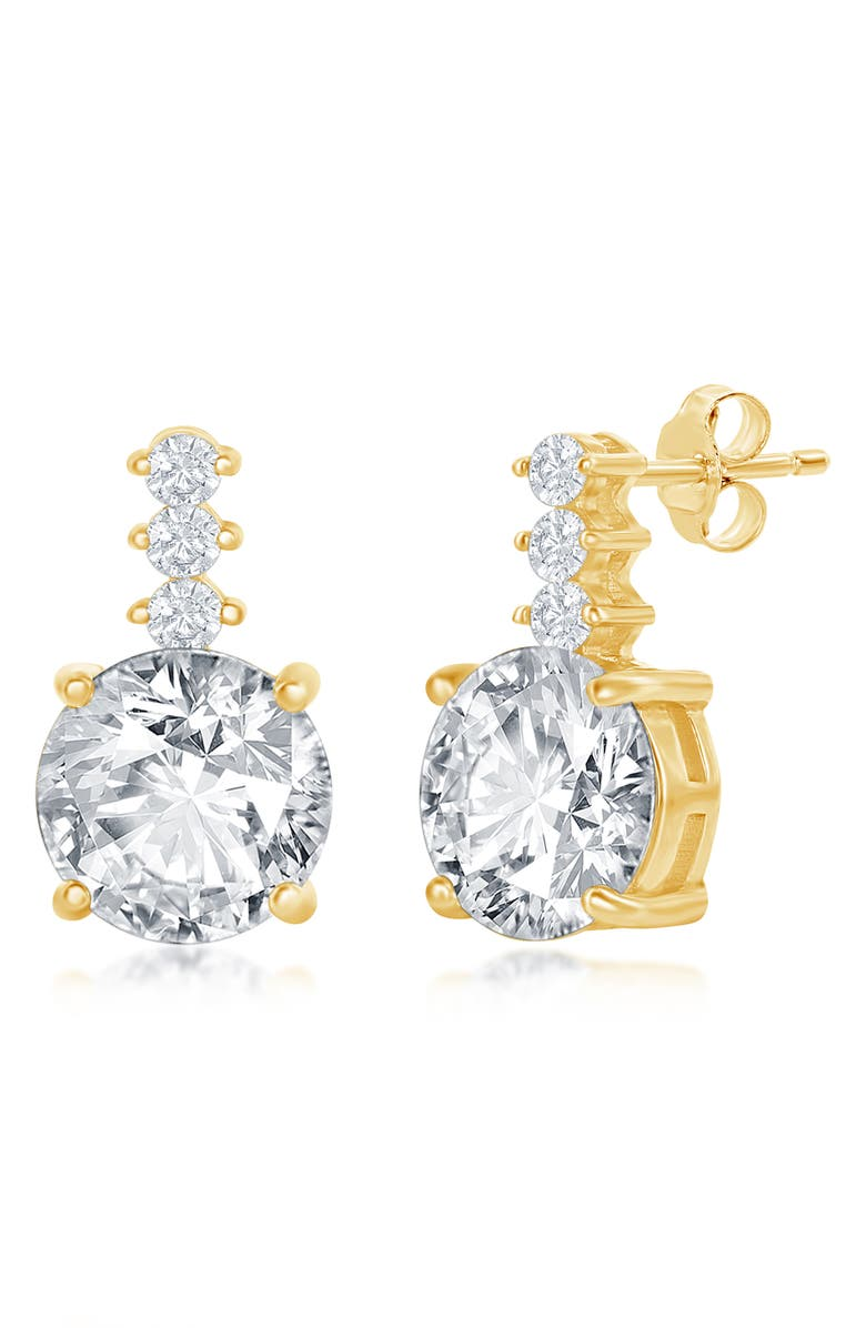 SIMONA Sterling Silver Round CZ with Bar Stud Earrings - Gold Plated, Main, color, GOLD