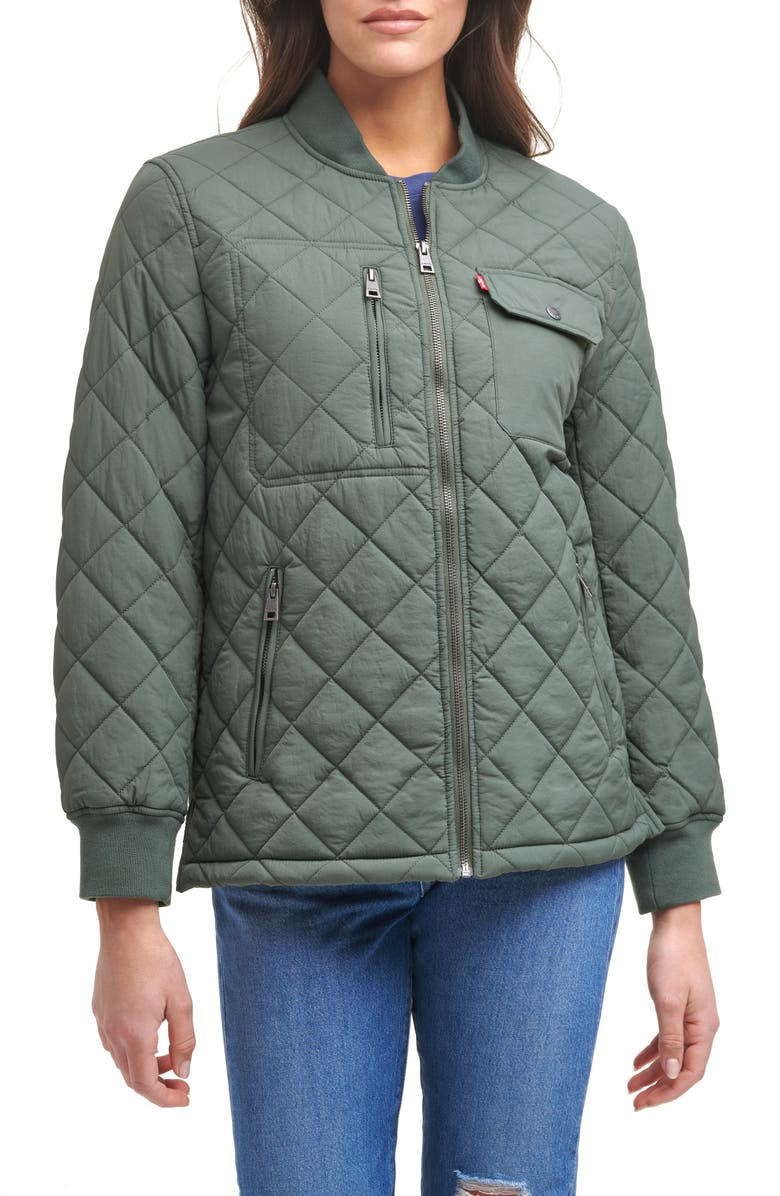 LEVI'S<SUP>®</SUP> Diamond Quilted Oversize Jacket, Main, color, SEAGREEN