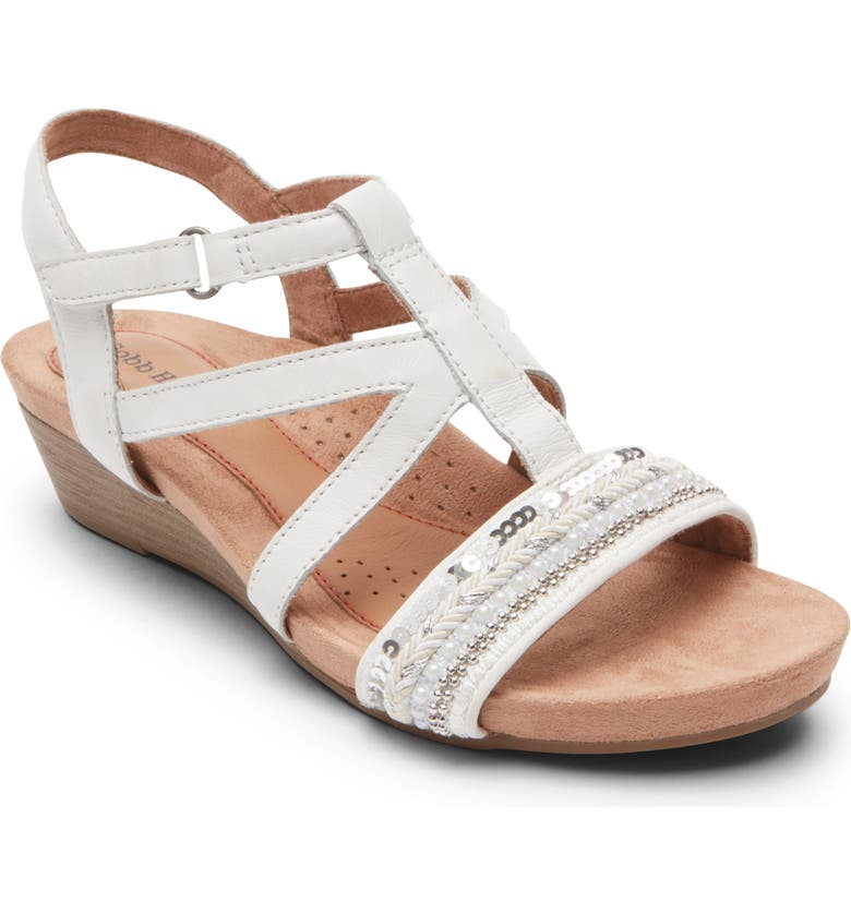 ROCKPORT COBB HILL Hollywood Wedge Sandal, Main, color, WHITE LEATHER