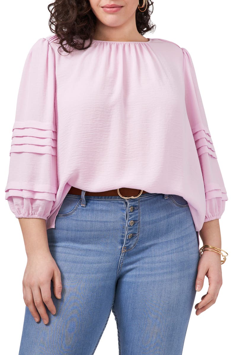 VINCE CAMUTO Pleated Sleeve Gauze Blouse, Main, color, CORSAGE PINK