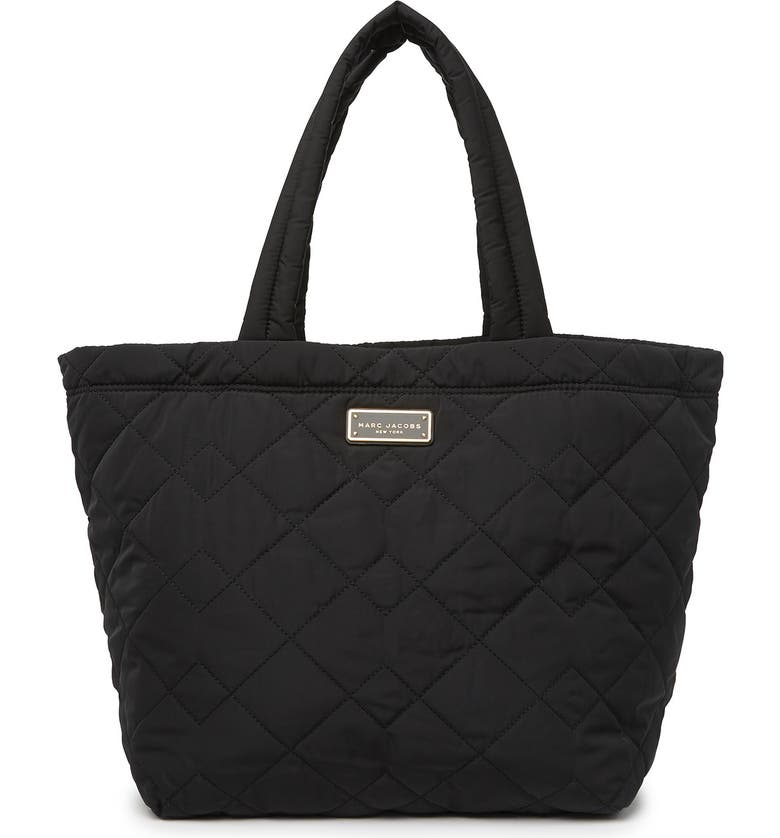 MARC JACOBS Quilted Nylon Deco Tote, Main, color, BLACK