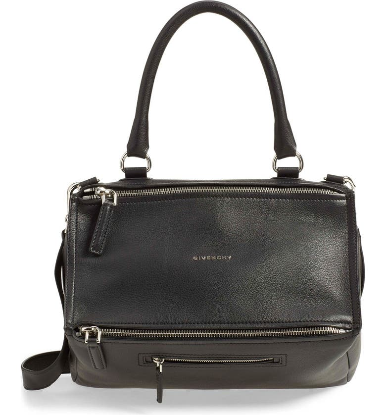 GIVENCHY Medium Pandora Sugar Leather Satchel, Main, color, BLACK
