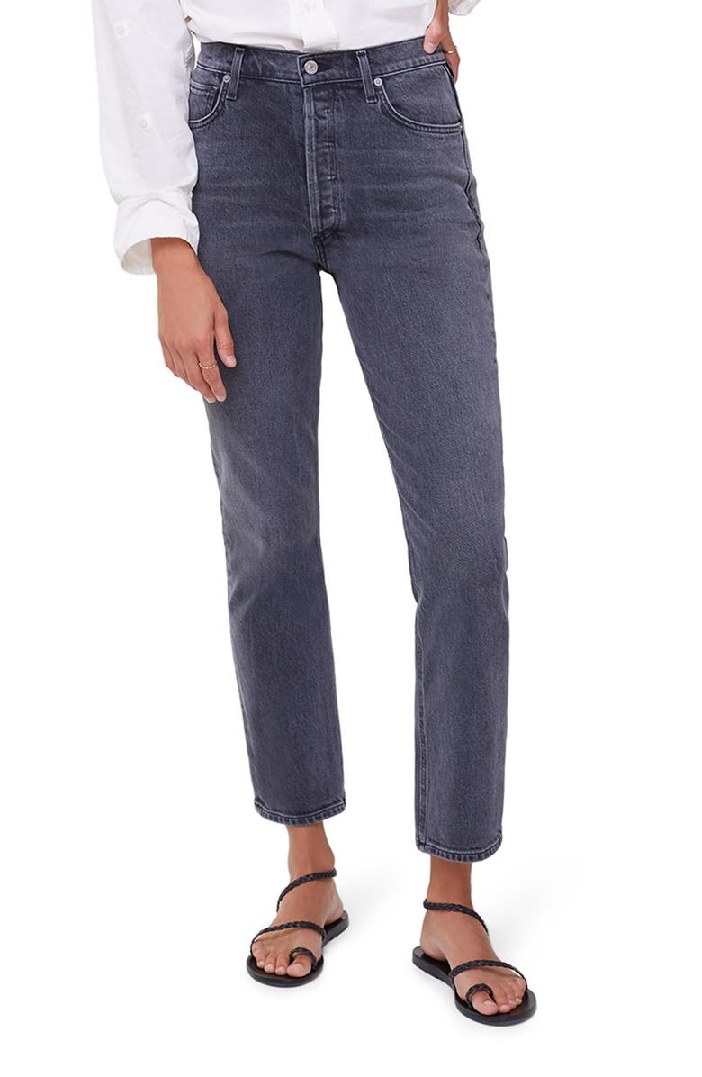 CITIZENS OF HUMANITY High Waist Straight Leg Jeans, Main, color, WHISPER LIGHT GREY