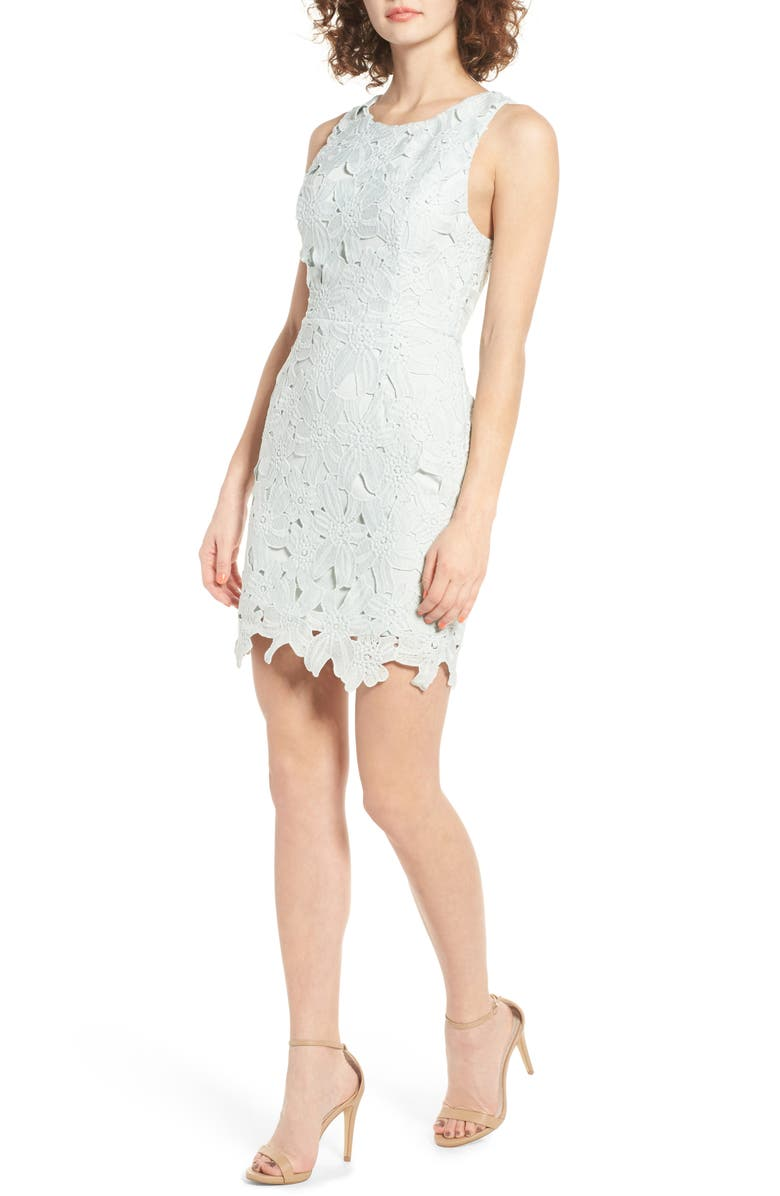 ASTR THE LABEL Textured Floral Body-Con Dress, Main, color, 440