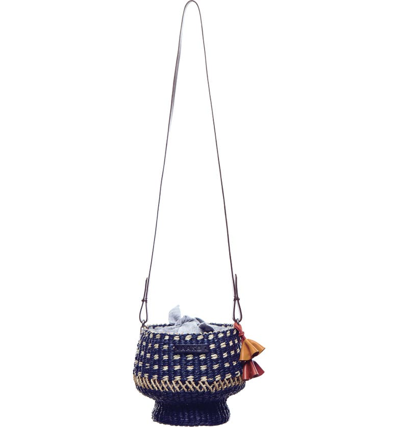 A A K S AAKS Mini Baw Pot Dot Bucket Bag, Main, color, NAVY/ NATURAL