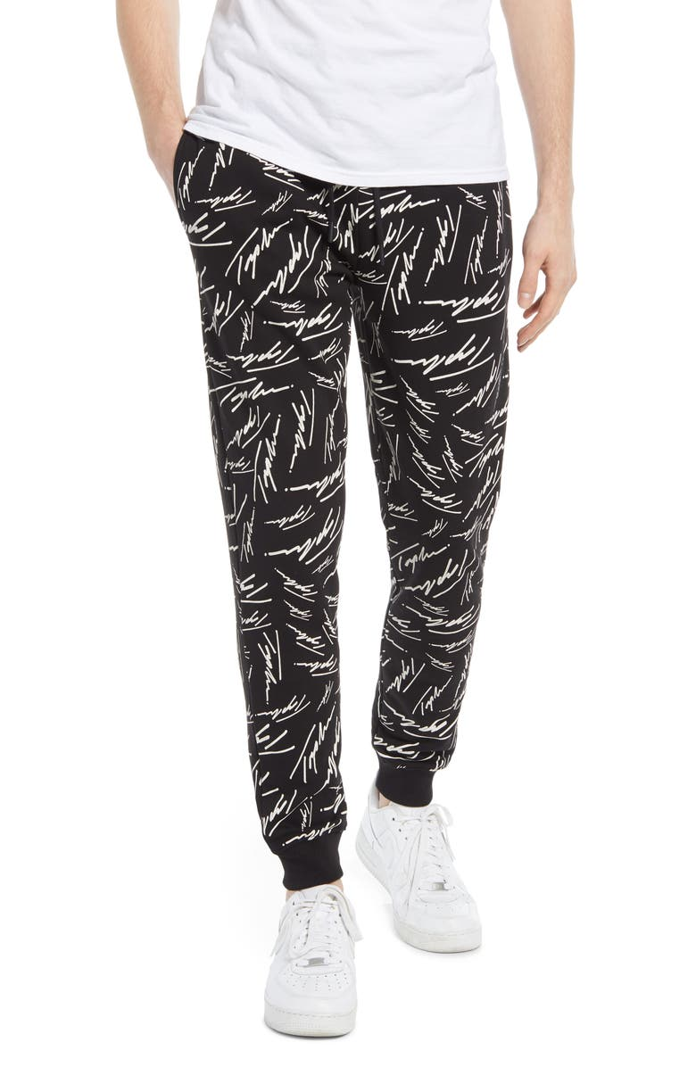 TOPMAN Signature Print Joggers, Main, color, BLACK