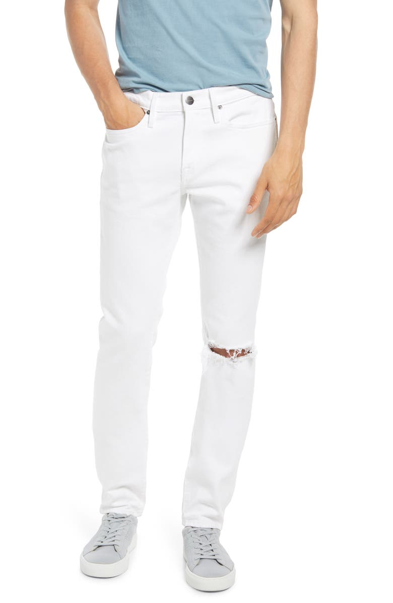 FRAME L'Homme Skinny Fit Jeans, Main, color, BLANC RIPS