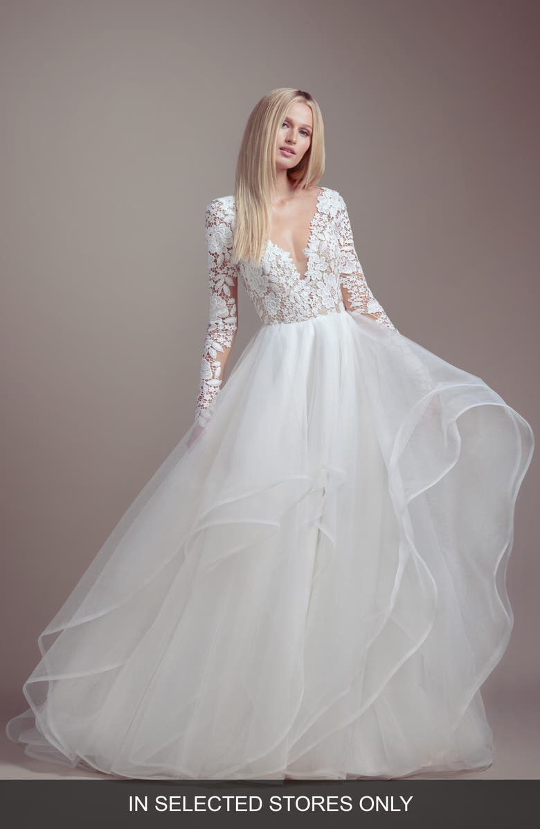 BLUSH BY HAYLEY PAIGE Praise Long Sleeve Lace & Tulle Wedding Dress, Main, color, 900