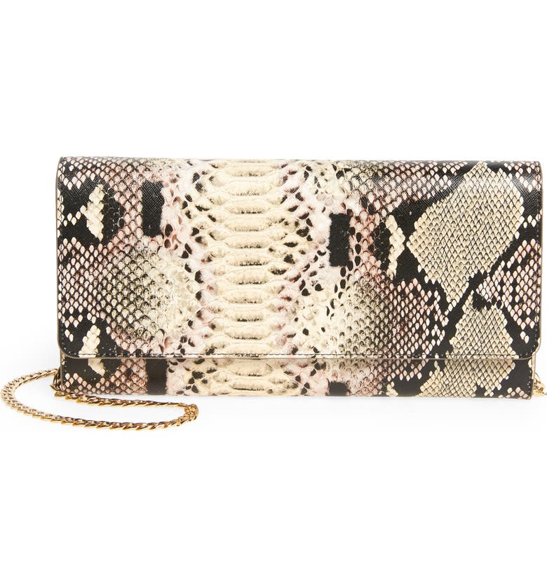 NORDSTROM Selena Leather Clutch, Main, color, NO_COLOR