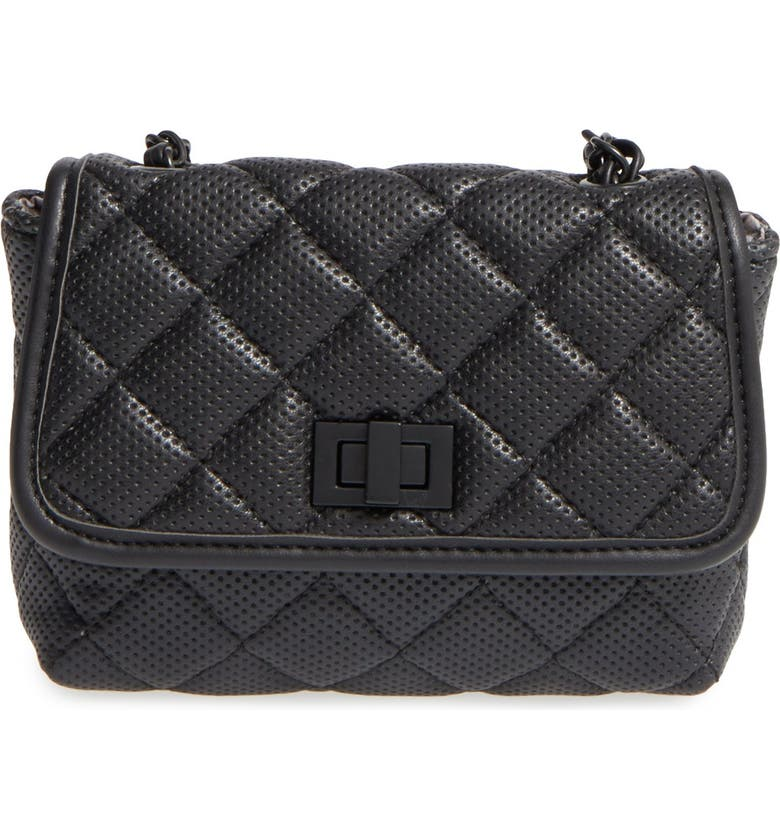 STEVE MADDEN 'B Clarre' Perforated & Quilted Faux Leather Crossbody Bag, Main, color, 001
