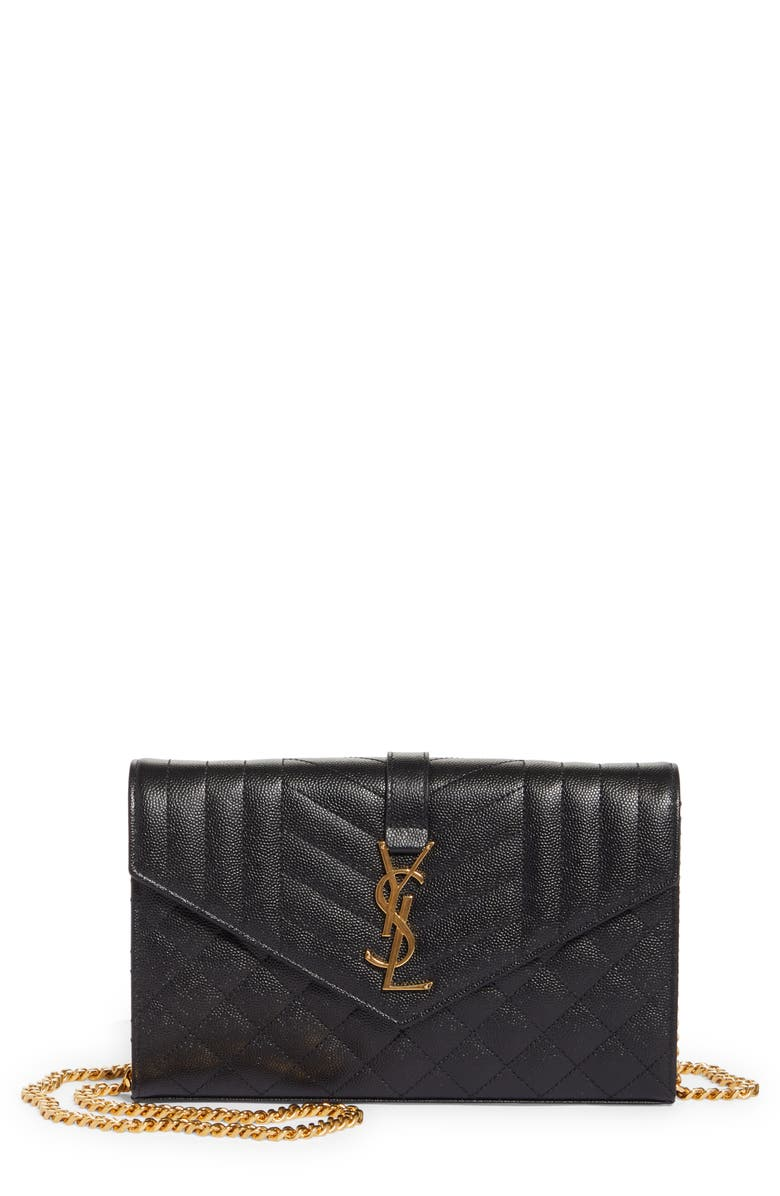 SAINT LAURENT Envelope Quilted Pebbled Leather Wallet on a Chain, Main, color, NERO/ NERO/ NERO