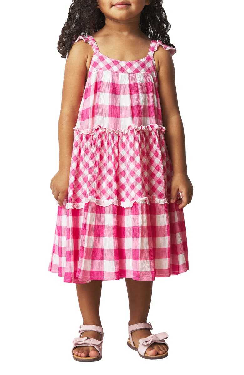 FRENCH CONNECTION Mixed Gingham Print Crinkle Dress, Main, color, PINK