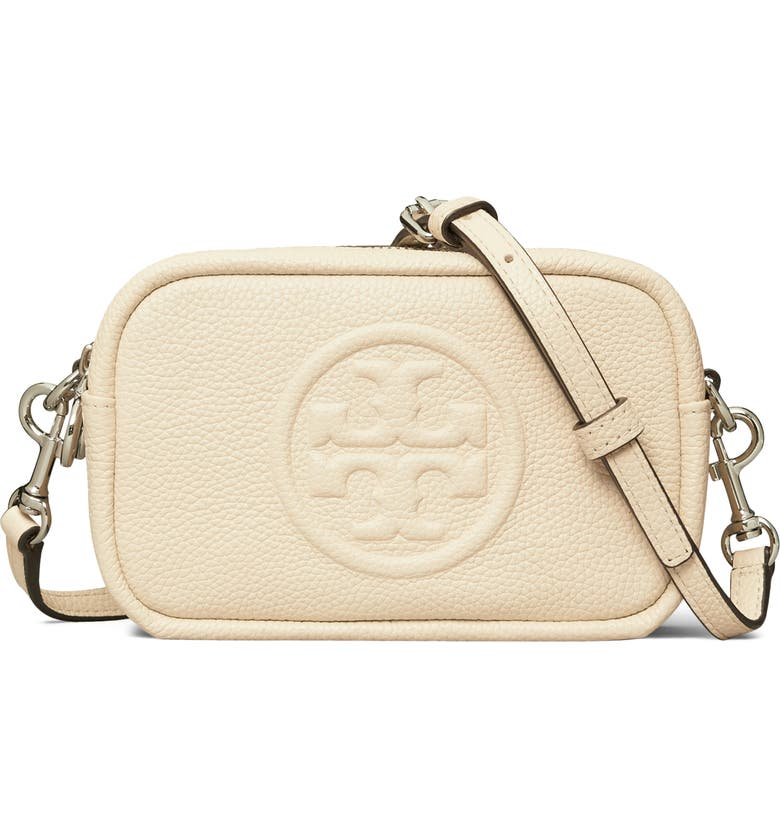 TORY BURCH Perry Bombe Leather Crossbody Bag, Main, color, NEW CREAM/ NEW CREAM