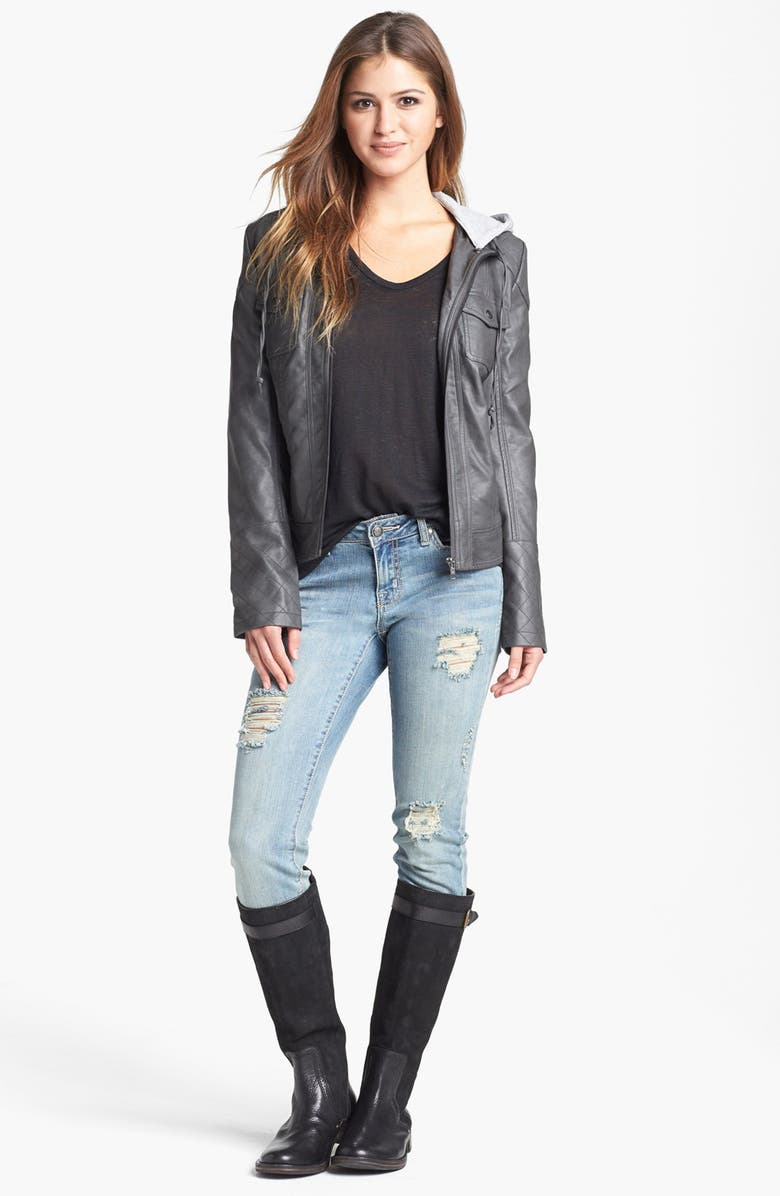 JESSICA SIMPSON 'Heathcliff' Hooded Faux Leather Jacket, Main, color, LIGHT GREY