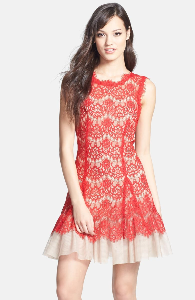 BETSY & ADAM Sleeveless Lace Fit & Flare Dress, Main, color, RED/ TAUPE