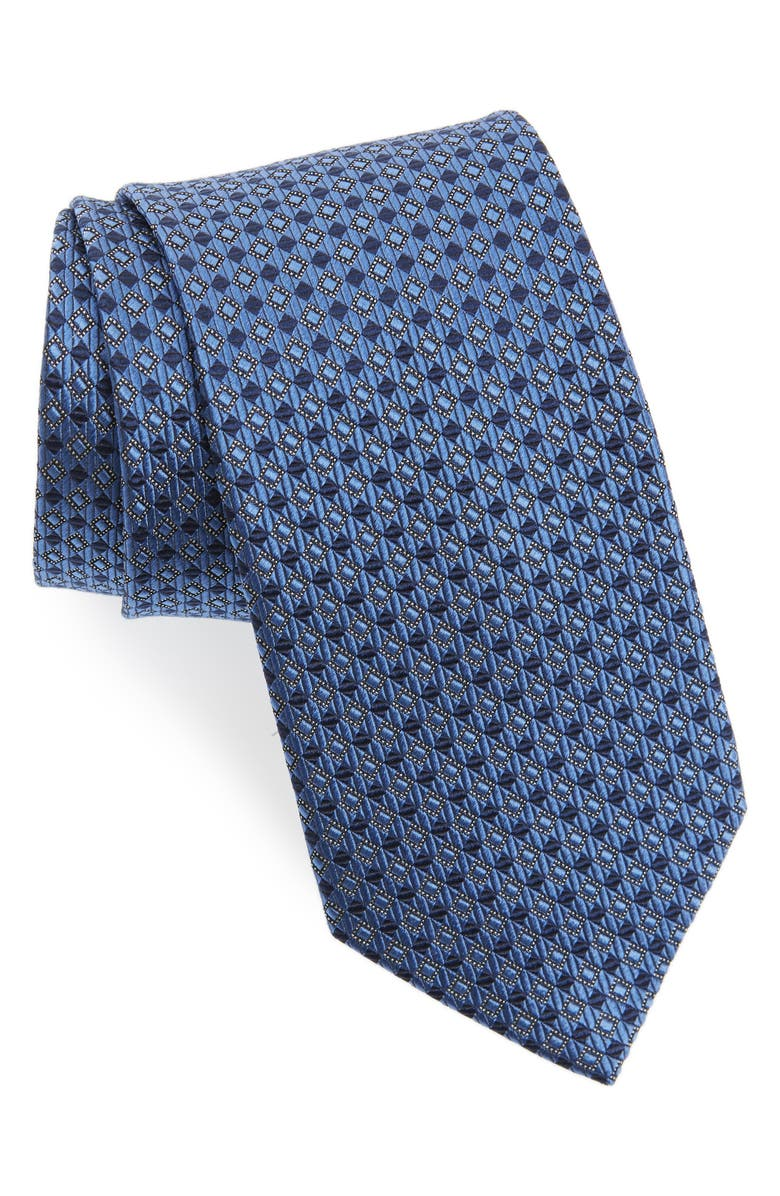 NORDSTROM Check Silk Tie, Main, color, NAVY