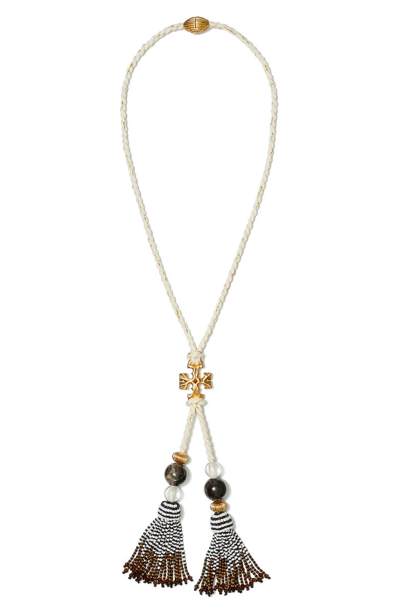 TORY BURCH Roxanne Tassel Y-Necklace, Main, color, ROLLED BRASS / NEUTRAL MULTI