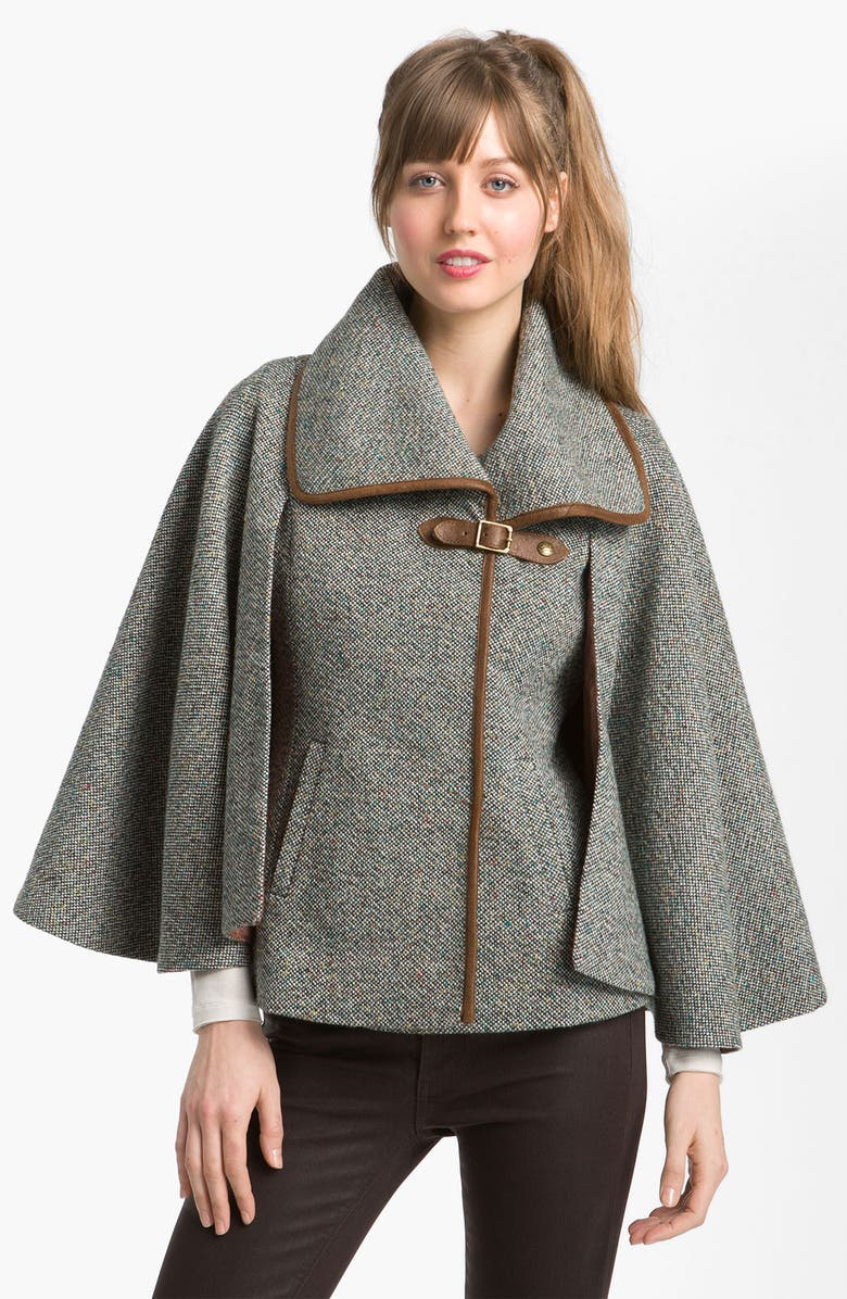 GUESS Leather Trim Tweed Cape, Main, color, 060